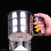Wish | Mechanical Flour Sugar Icing Mesh Sifter Shaker Baking Kitchen Tool Stainless