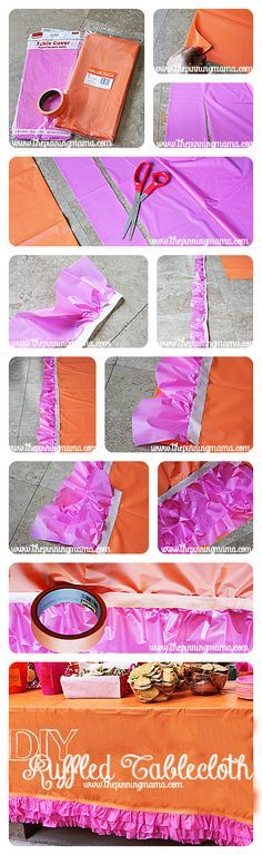 I am totally doing this for my daughter's birthday! So simple! DIY Easy No Sew Ruffled Tablecloth - Click here for instructions! #party #nosew