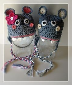 PDF Pattern Happy Hippo earflat hat Boy and Girl por AngelsChest