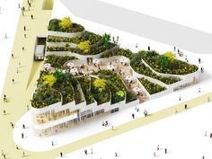 The design features a stepped roof garden that spans the entirety of the building's footprint.