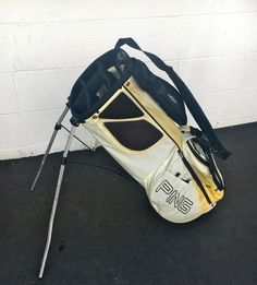 Ping Hoofer C-1  Stand GOLF  Bag~GOOD CONDITION~IVORY/TAN/BLACK~LIGHTWEIGHT GOLF #Ping #Modern Golf Bags, Golf Clubs, Black, Sports, Hs Sports, Black People, Sport