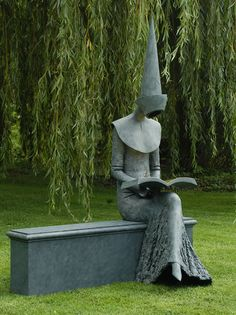 "whisperinglion: "" ugher: "" Philip Jackson Sculpture : Large Works : Reading Chaucer : Sculptor Philip Jackson "" I am fascinated by how the artist made the dress ""read"" as a thin veil of lace. Art Sculpture, Garden Sculpture, Graffiti, Cemetery Art, Parcs, Public Art, Garden Art, Land Art, Book Art"