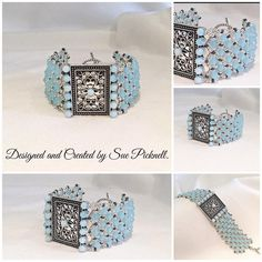 No pattern available, but it looks like netting that has been embellished.  Could try this as a watch band.