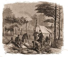 Soldier's burial near camp --  It is very remarkable to a stranger, when first visiting the army, to notice the proximity of the burial grounds to the tents of the soldiers.  Sometimes, as in the present instance, it is close beside the encampment; sometimes on the slope of a hill among the pine stumps, the grim remains of a lordly forest.