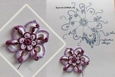 flower crochet in purple and white. ﻬஐCQஐﻬ crochet spring crochetflowers flowers