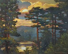New - Pines Over The Lake - Giclee Art PRINT of Original Painting matted 16x20 by Jan Schmuckal (modern)