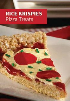 "Rice Krispies Pizza Treats – Mama mia! Your kids can decorate each slice with their favorite ""toppings"" for a cute and crusty pizza pie."