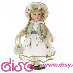 #muñecasdeporcelana #muñecasdisy Muñecas de porcelana - Muñeca vestido bordado de flores 40cm.