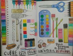 Cover this page with art/office supplies