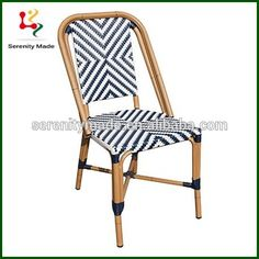 Outdoor Armless French Woven Bistro Chair Paris Riviera Cafe Chair