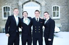 Black Tuxedos with Mint Bow Ties