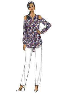 Butterick Lifestyle Wardrobe sewing pattern. B6462 Misses' Cold-Shoulder Top, Tunic, Dress and Jumpsuit with Sash, and Pull-On Pants