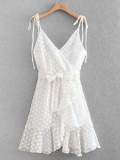Vacation Slip Ruffle Hem and Knot and Belted Plain Fit and Flare Asymmetrical Spaghetti Strap Sleeveless Natural White Short Length Self Tie Ruffle Hem Cami Dress Trendy Dresses, Stylish Outfits, Casual Dresses, Fashion Dresses, Summer Dresses, Vacation Dresses, Dresses Dresses, Polka Dot Short Dresses, Edgy Dress