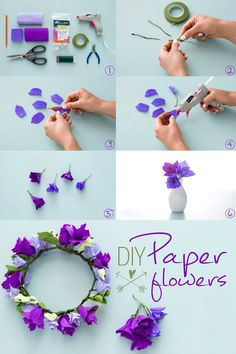 DIY Paper Flowers: Use colorful crepe paper, wire, and Elmer's new CraftBond Less Mess Hot Glue Sticks & Hot Glue Gun to make simple, yet beautiful paper flowers. Then use your flowers for holiday decor, wreaths, DIY wedding decor, and more!