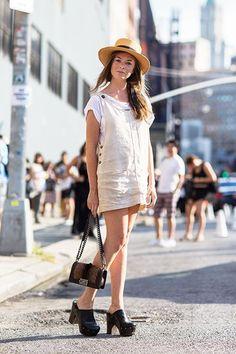 clogs, mini dress, hat