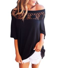 Women Long Sleeve Strapless Lace Crochet Blouse Sexy Tee Tops