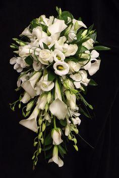 calla, lisianthus, freesia, & singapore orchid shower bouquet www.weddingflowersbylaura.com