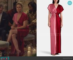 Twisted Colorblocked Silk Satin Gown by Prabal Gurung worn by Jacqueline (Melora Hardin) on The Bold Type Pink And Red Dress, Red And Pink, Satin Gown, Silk Satin, Melora Hardin, Tv Girls, Prabal Gurung, Be Bold, Royal Fashion