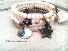 """Bracelet 4 rangs fil mémoire """" Champagne """" entièrement réalisé avec des perles en verre à facettes dans un dégradé de blanc, : Bracelet par les-creations-de-melletincelle"""