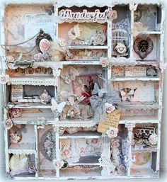 Handmade Altered Vintage Printers Tray. by tiffanyspaperdesigns