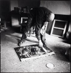 Alexander Liberman, Jean Dubuffet in action, using plastics on...