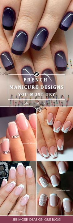 41 New French Manicure Designs To Modernize The Classic Mani 41 New French Manicure Designs To Modernize The Classic Mani,My Fave Nail Polish/Art/Design Designs of French manicure are much more intricate this season. New French Manicure, French Manicure Designs, French Manicures, Nail French, French Pedicure, French Grey, Black French Nails, French Tip Design, French Manicure Acrylic Nails