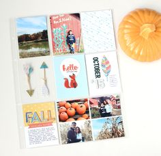 October Project Life - Scrapbook.com - Let premade embellishments be the star of the show in some of your pocket page layouts.