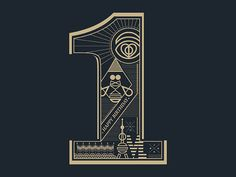 Number one 1 numbers número uno typography black by inspireuart
