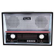 Cofre Rádio Antigo Azul - Casa Geek - A12 x C18 x P 6,4  - R$ 32,90