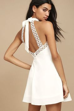 No matter where you wear it, the Any Sway, Shape, or Form White Lace Halter Dress will turn heads! Tying halter neckline tops a sleeveless lace bodice. White Bridesmaid Dresses, Black Prom Dresses, Cute Dresses, Halter Dress Short, Sexy Backless Dress, Halter Neck, White Romper Dress, Lace Dress, Banquet Dresses