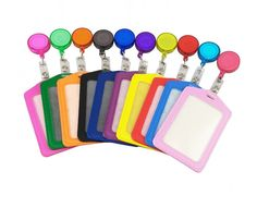 10 Pack Leather ID Badge Card Holder With Retractable ID Badge Reel Office BEST #Kinteshun