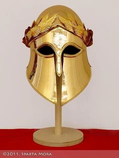 Corinthian Helmet with Gold Laurel Wreath