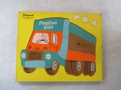 Truck Puzzle Playskool Lines, PlaySkool  #360-19 Vintage 60's, Brown Orange Blue Yellow Wood Manipulative Nursery Child's Decor Playroom Pic by HobbitHouse on Etsy