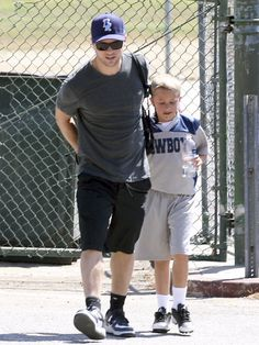 Ryan Phillippe put his arm around his son, Deacon, in April after watching him play a game in LA.   #celebrities #celebrity dads #celebrities' kids