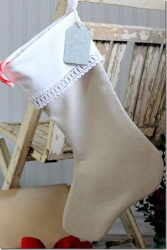 Flax Linen Christmas Stocking