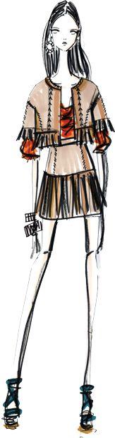 Cynthia Steffe by Shaun Kearney #fashion #illustration | Pantone Fashion Color Report Spring 2012