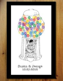 Retro Wedding Guest Book - Gumball Machine Just add Fingerprints Thumbprint Guest Books, Fingerprint Art, Finger Art, Gumball Machine, Color Crafts, Finger Painting, Ballon, Student Gifts, Wedding Guest Book