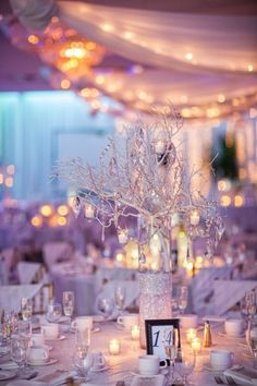 Winter wedding centerpiece idea - white branches draped in crystals {Jordan Brian Photography}