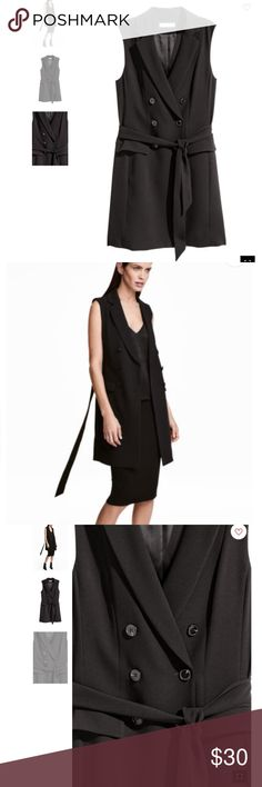 H&M black sleeveless tie belt vest jacket Never worn!!! H&M Jackets & Coats Blazers