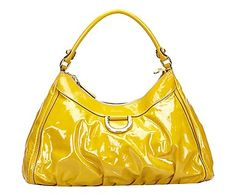 Borsa D Gold Hobo in pelle giallo - 20x37x10 cm