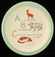 Childs ABC Feeding Dish ~ ZOO Alphabet ~ Adderley 1940