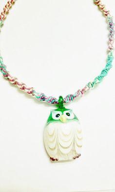 Glass Owl Pendant Hemp Necklace  Handmade Macrame by WartickRavels