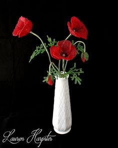 Custom French Beaded Flowers, 3 Poppies, seed bead floral arrangement, home decor, wire wrapped sculpture, MADE TO ORDER