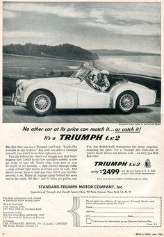 1955 Triumph TR 3 car near seashore photo vintage print ad Triumph Motor, Triumph Sports, Triumph Tr3, Coventry, Vintage Cars, Vintage Photos, British Sports Cars, British Car, Mg Cars
