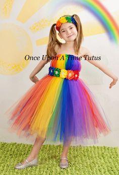Bright rainbow tutu dress child girls size by onceuponatimetutus Blush Flower Girl Dresses, Little Girl Dresses, Tutu Dresses, Tutus For Girls, Kids Girls, Clown Halloween Costumes, Fairy Costumes, Clown Photos, Rainbow Tutu