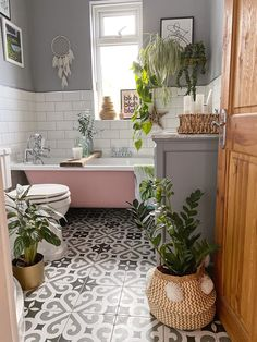 10 Ways to Makeover Your Bathroom on a Budget, including adding plants, replacing flooring, painting your bath and wallpapering - Melanie Jade Design Serene Bathroom, Modern Bathroom Tile, Beautiful Bathrooms, Best Bathrooms, Best Bathroom Flooring, Master Bathroom, Best Bathroom Designs, Bathroom Interior Design, Apartment Bathroom Design
