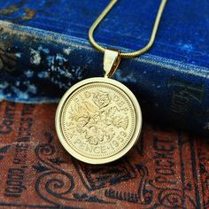 1959 Gift for Her, Coin Necklace, Sixpence in Gold, 1959 Birthday Mum Sixpence English Coin Necklace Holly Willoughby Bride Necklace, Coin Necklace, Pendant Necklace, Copper Anniversary Gifts, Anniversary Present, English Coins, 60th Birthday, Birthday Ideas, Gold Plated Necklace