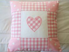 Patchwork Heart Cushion Cover - All colours Patchwork Heart, Patchwork Cushion, Patchwork Baby, Quilted Pillow, Cute Cushions, How To Make Pillows, Quilt Baby, Heart Cushion, Heart Pillow
