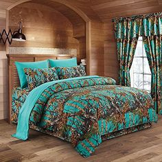 Kids' Comforter Sets - The Woods Teal Camouflage Queen Premium Luxury Comforter Sheet Pillowcases and Bed Skirt Set by Regal Comfort Camo Bedding Set For Hunters Cabin or Rustic Lodge Teens Boys and Girls -- Continue to the product at the image link. Camo Bedding, Teen Boy Bedding, Rustic Bedding, Queen Bedding Sets, Comforter Sets, King Comforter, Teal Comforter, Queen Sheets, Camo Rooms