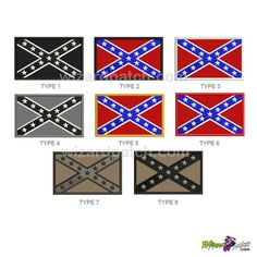 CONFEDERATE flag embroidered patch many choice of colors wizard patch Confederate Flag, Embroidered Patch, Type 3, Rebel, Biker, Patches, Japanese, Embroidery, Stars